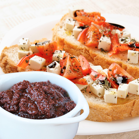 Bruschetta with olive paste flavored with thyme